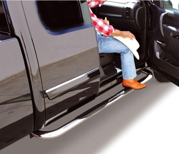Go Rhino - Estribos serie 4000 + Brackets Inoxidable Chevrolet Silverado/GMC Sierra 14-17 Crew Cab