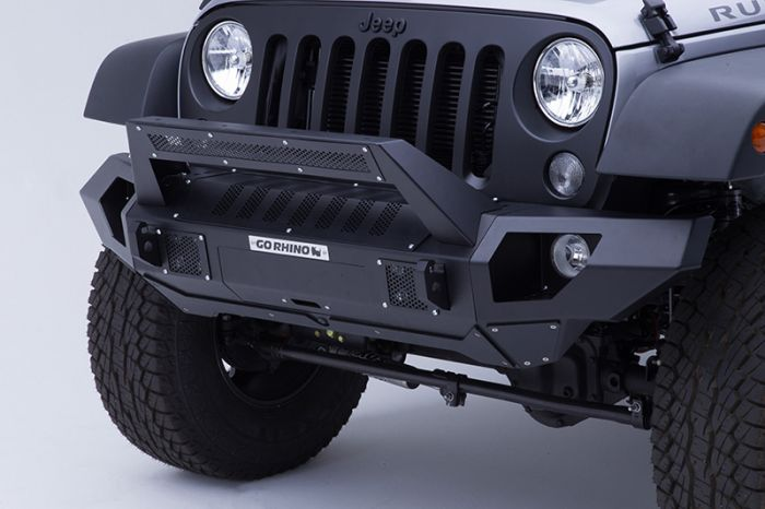 Go Rhino - Combo Defensa BRJ40 + Straight End Caps + soporte Roadline para barra Led Jeep Wrangler JK 07-18