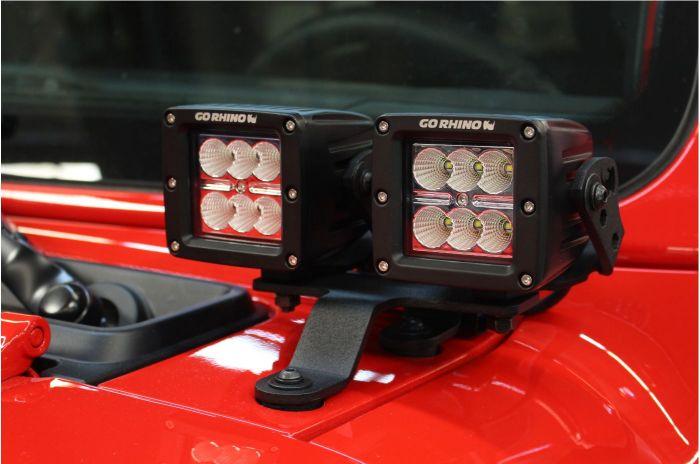 "Go Rhino - Montaje delantero para 2 LED?s 3"" Jeep Wrangler JL 18-21 / Jeep Gladiator 20-21"
