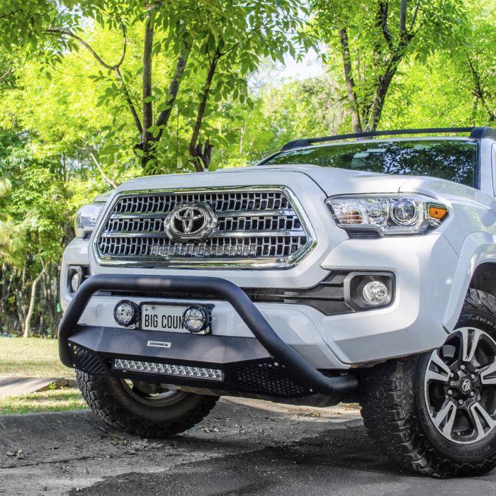 Go Rhino - RC4 LR Skid Plate Negro Texturizado + Luz Led Toyota Tacoma 16-21 (Defensa+Brackets+Luz)