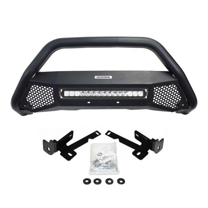 Go Rhino - RC4 LR Skid Plate Negro Texturizado Chevrolet Silverado 2500 HD / 3500 HD 09-19 (Defensa+Brackets+Luz)