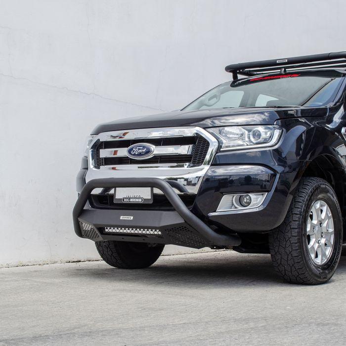 Go Rhino - RC4 LR Skid Plate Negro Texturizado + Luz Led Ford Ranger 16-21 ( Defensa+Brackets+Luz)