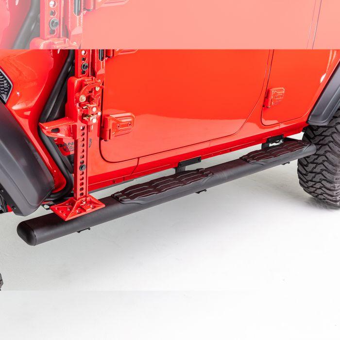 "Go Rhino - 5"" 1000 Series Fusion Estribos + Brackets Jeep Wrangler JL 18-21 Negro Texturizado"