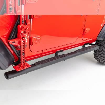 "Go Rhino - 4"" 1000 Series Fusion Estribos + Brackets Jeep Wrangler JL 18-21 Negro Texturizado - Image 1"